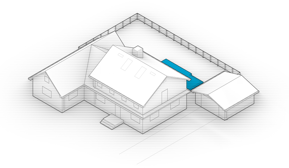 Diagram of the house with the swimming pool highlighted in blue.