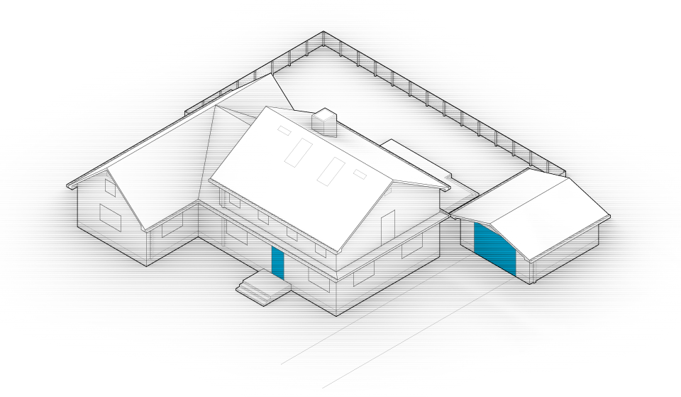 Diagram of the house with door and garage door highlighted in blue.