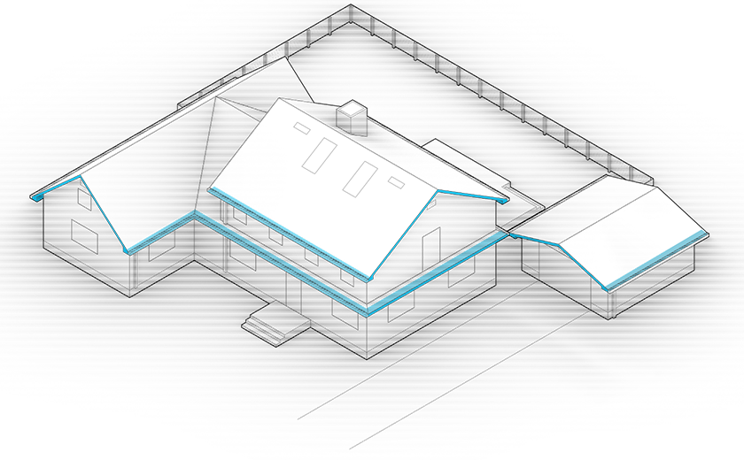 Diagram of the house with eaves and overhangs highlighted in blue.