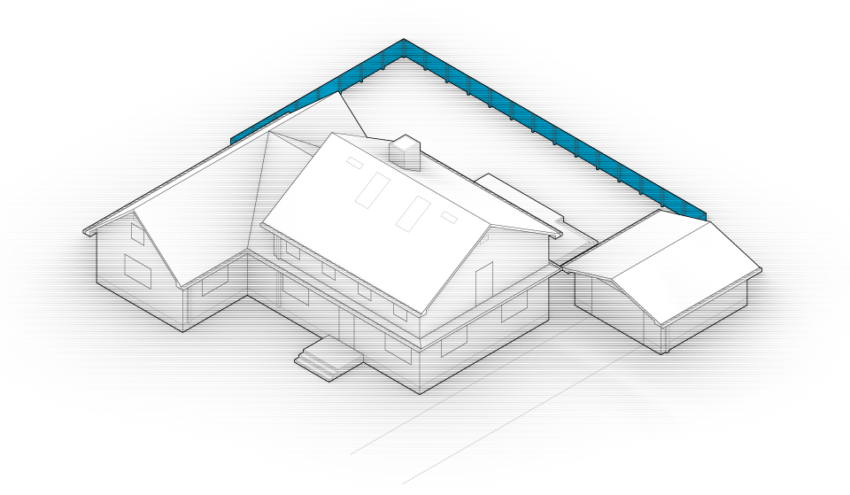 Diagram of the house with fences highlighted in blue.