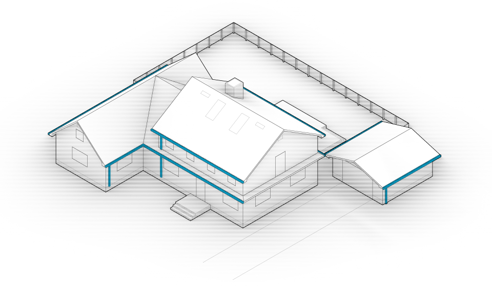 Diagram of the house with gutters and downspouts highlighted in blue.