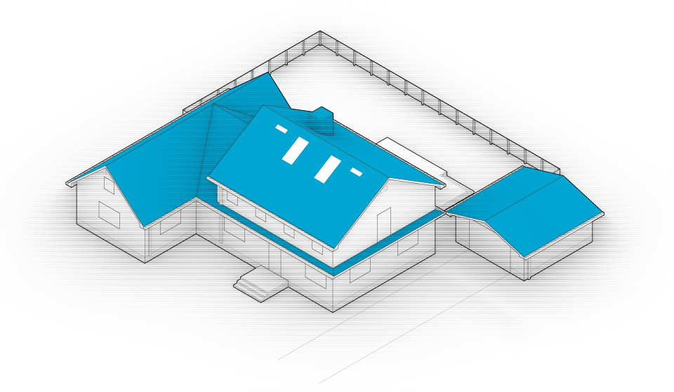 Diagram of the house with roof and chimney highlighted in blue.