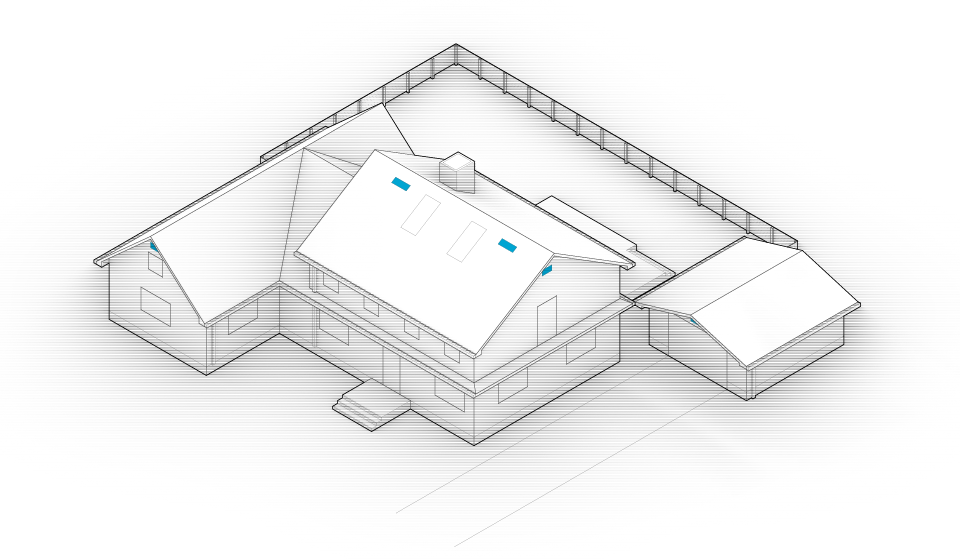 Diagram of the house with vents highlighted in blue.