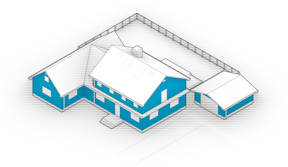 Diagram of the house with walls and sidings highlighted in blue.