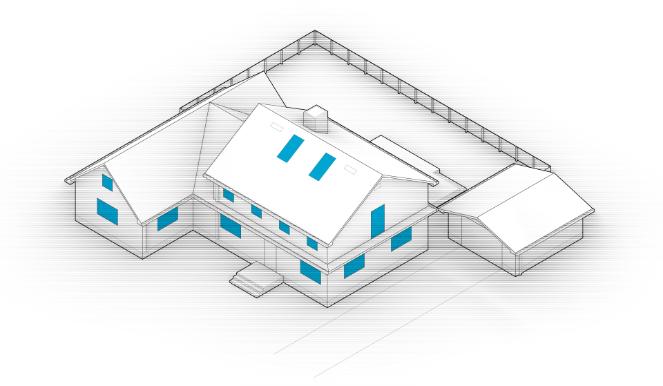 Diagram of the house with windows and skylights highlighted in blue.