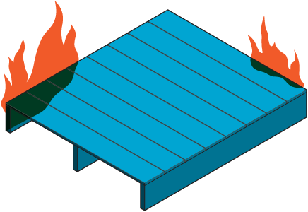 Icon of a deck on fire.
