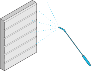 Icon of a wall siding being sprayed with fire-retardant product