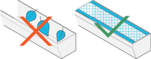 Icon of leaves in a gutter without leaf-guard next to a clean gutter with a leaf-guard installed.