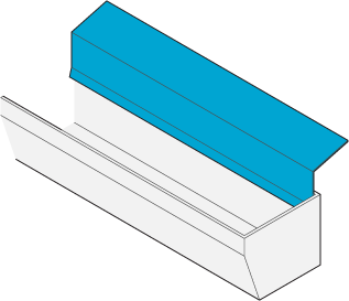 Icon of metal flashing next to a gutter.