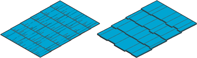 Icon of two different types of roof.