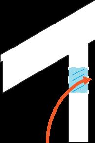 Icon of an arrow going through a vent under an overhang.