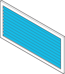 Icon of a vent with shutters installed.