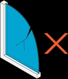 Icon of a broken single-pane window.