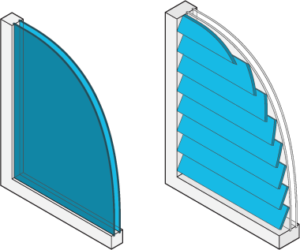 Icon of a window with and without shutters.
