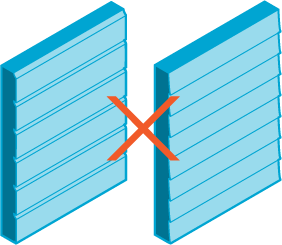 Image of two types of siding with a red cross over them.
