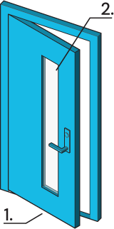 Icon of a door with a glass panel.