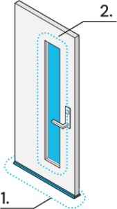 Icon of a door with a glass panel