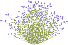 Icon of a native shrub with purple flowers.