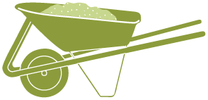 Icon of a wheelbarrel filled with mulch.