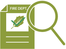 Icon of a form from the fire department listing fire-resistant plants.