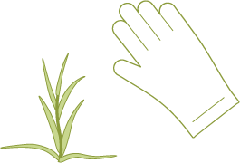 Icons of a plant and a gardening glove.