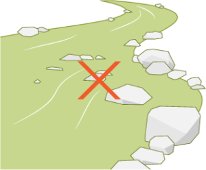 Icon of a stream indicating the need to consult the California Department of Fish and Wildlife for streambed alteration agreements.
