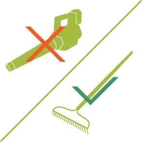Icon of a leaf blower with a red cross on it, and a rake with a green check mark.