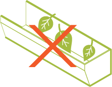 Icon showing leaves accumulating in a gutter.