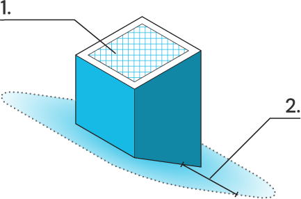Icon of a chimney with a spark arrestor and a clearing distance of 10 feet around the chimney.