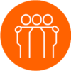 Icon of three people with hands on each others' shoulders with an orange circle background.