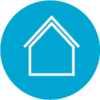 Icon of a house with a light blue circle background.