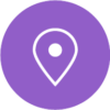Icon of a map location pin with a purple circle background.