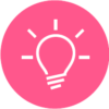 Icon of a lightbulb with a pink circle background.
