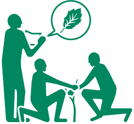 icon of 3 people taking care of a baby oak tree