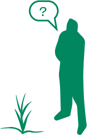 icon of a person with a question mark next to a plant