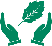icon of an oak leaf between two hands