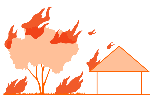 icon of landscape and a house on fire