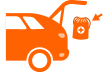 icon of an emergency kit being put in the trunk of a car