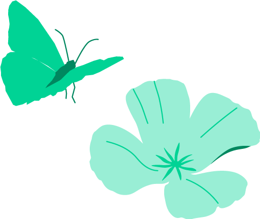 icon of a butterfly next to a flower